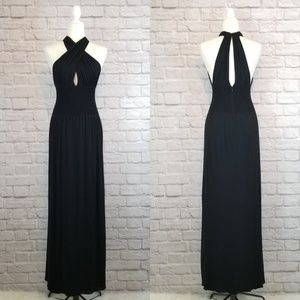 Guy Laroche Collection black cutout halter gown